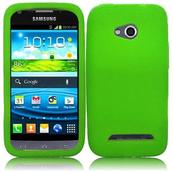 INSTEN Green Rubber Soft Silicone Soft Skin Gel Phone Case Cover for Samsung Galaxy Victory 4G LTE