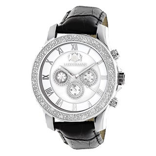 Luxurman Men's 1/4ct TDW White Diamond Mother of Pearl Watch with Leather Strap Set