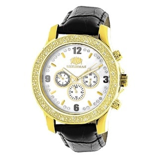 Luxurman Yellow Gold-tone Steel Men's 1/4ct TDW White Diamond Chronograph Watch with Leather Strap S