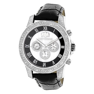 Luxurman Men's Freeze 0.50ct Diamond Watch with Leather Strap Set