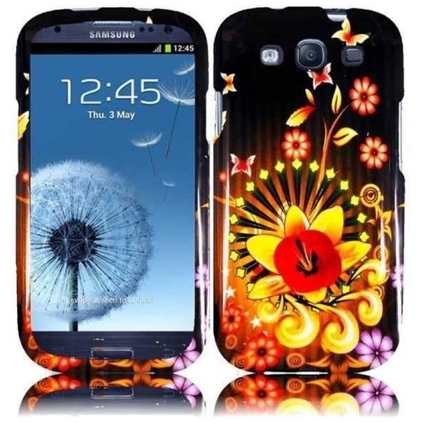 INSTEN Colorful/ Black Shine Flower Hard Plastic PC Snap-on Phone Case Cover for Samsung Galaxy S3