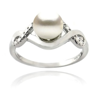 Glitzy Rocks Sterling Silver Freshwater Pearl and Diamond Infinity Ring