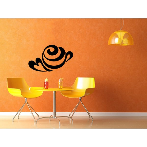 Cup of Coffee Heart Glossy Black Vinyl Wall Decal