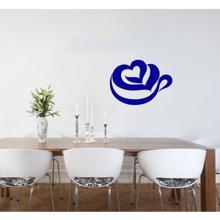 Steaming Heart Cup of Coffee Vinyl Wall Decal