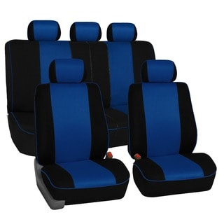 FH Group Blue 3D Air-mesh with Edge Piping Car Seat Covers (Full Set)