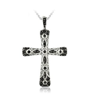 DB Designs Sterling Silver Black Diamond Accent Cross Necklace