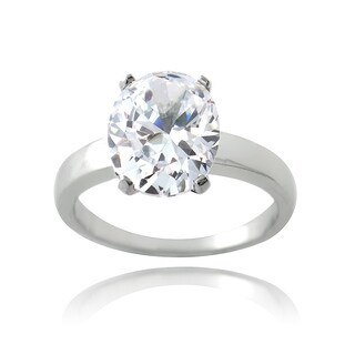 Icz Stonez Sterling Silver 4 1/3ct TGW Cubic Zirconia Oval Solitaire Bridal Engagement Ring