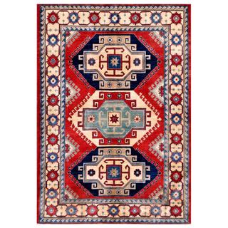 Herat Oriental Afghan Hand-knotted Kazak Red/ Beige Wool Rug (5'5 x 7'9)