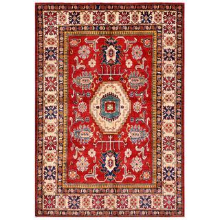Herat Oriental Afghan Hand-knotted Kazak Red/ Beige Wool Rug (5'10 x 8'7)