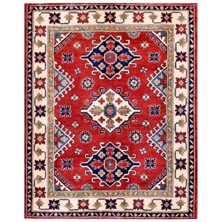 Herat Oriental Afghan Hand-knotted Kazak Red/ Ivory Wool Rug (4'11 x 6'5)