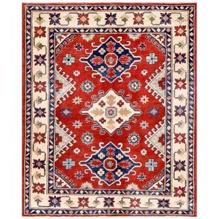 Handmade One-of-a-Kind Kazak Wool Rug (Afghanistan) - 4'9 x 5'9