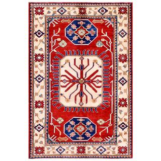 Herat Oriental Afghan Hand-knotted Kazak Red/ Ivory Wool Rug (4'10 x 7'2)