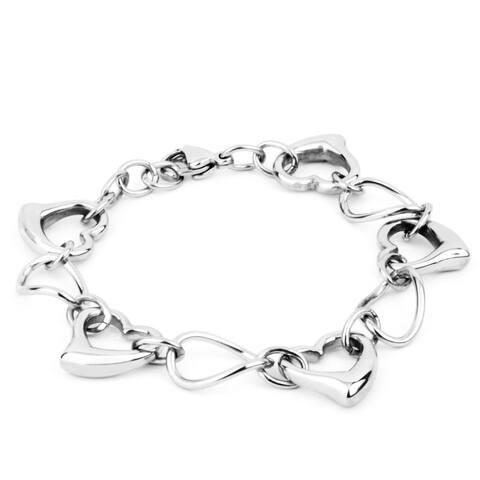 ELYA Polished Oval and Heart Stainless Steel Link Bracelet