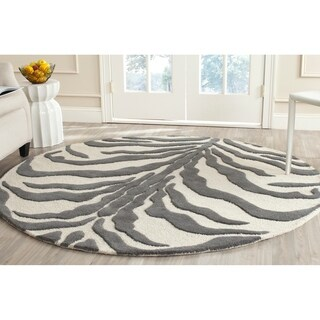 Safavieh Handmade Moroccan Cambridge Ivory/ Dark Grey Wool Rug (6' Round)