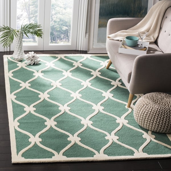 Safavieh Handmade Moroccan Cambridge Teal Ivory Wool Rug