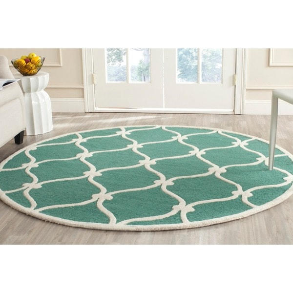 Safavieh Handmade Moroccan Cambridge Teal/ Ivory Wool Rug