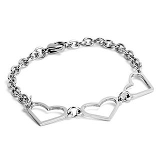 ELYA Stainless Steel Triple Open Heart Chain Link Bracelet