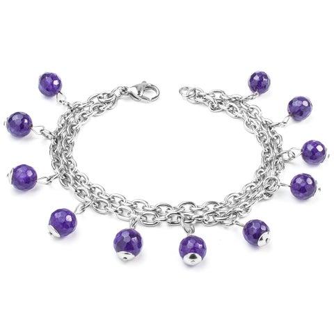 ELYA Natural Purple Agate Stone Stainless Steel Multi-strand Bracelet