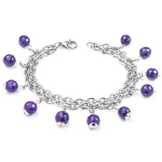 ELYA Natural Purple Agate Stone Stainless Steel Multi-strand Bracelet|https://ak1.ostkcdn.com/images/products/8569181/P15844163.jpg?impolicy=medium