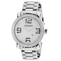 Luxurman Men's Diamond Dial Stainless Steel Watch with Metal Band and Extra Leather Straps