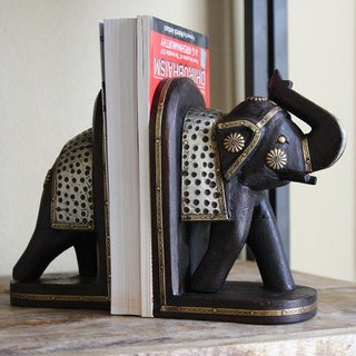 Handcrafted Elephant Bookend Pair (India)