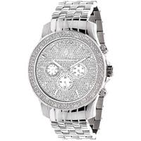 Luxurman Men's Real 1/4ct TDW White Diamond Watch with Metal Band and Extra Leather Straps