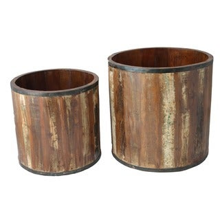 Timbergirl Reclaimed Wood Planter Box -Set of 2 , Handmade in India