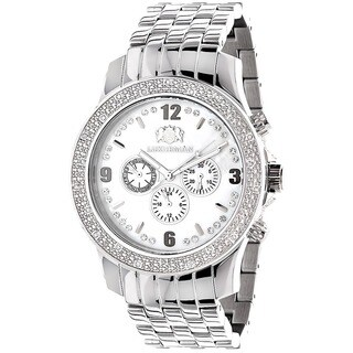 Luxurman Men's Stainless Steel 1/5ct TDW Diamond Watch