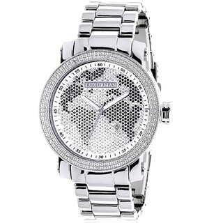 Luxurman Men's Diamond 0.12 ct Black White Map Watch with Metal Band and Extra Leather Straps