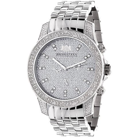 85a62d0d65a6 Luxurman Men s Stainless Steel Hidden Subdial Diamond Watch with Metal Band  and Extra Leather Straps