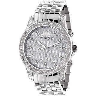 Luxurman Men's Stainless Steel Hidden Subdial Diamond Watch with Metal Band and Extra Leather Straps