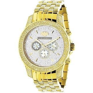 Luxurman Men's Yellow Goldtone Stainless Steel Diamond Watch with Metal Band and Extra Leather Strap