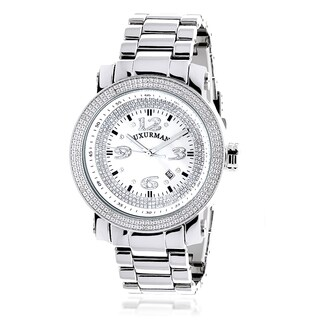 Luxurman Men's 'Iced Out' Diamond Stainless Steel Watch with Metal Band and Extra Leather Straps