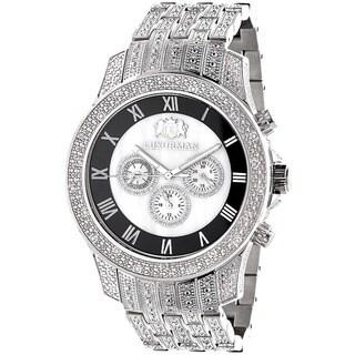 Luxurman Men's Stainless Steel Mother of Pearl Diamond Watch
