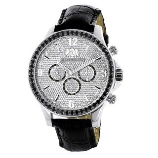 Luxurman Men's 3ct TDW Black Diamond Watch with Metal Band and Extra Leather Straps