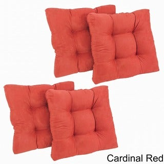 Blazing Needles Solid 19-inch Square Tufted Microsuede Chair Cushions (Set of 4)