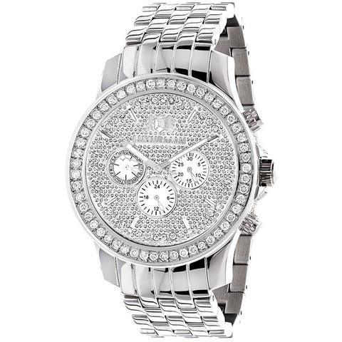 Luxurman Men's CL102 Stainless Steel 3ct Diamond Watch with Metal Band and Extra Leather Straps