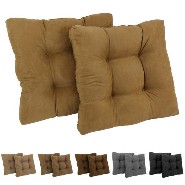 Blazing Needles Earthtone 19 Inch Square Tufted Microsuede Chair Cushions Set Of 2