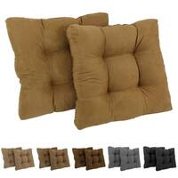 Blazing Needles Earthtone 19-inch Square Tufted Microsuede Chair Cushions (Set of 2)