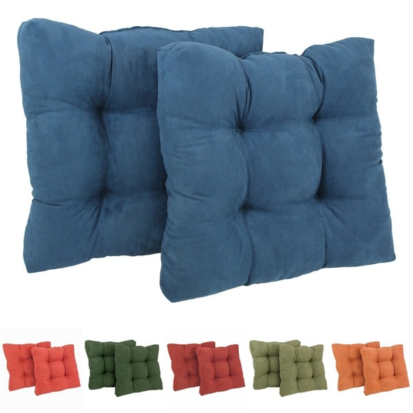 Blazing Needles Solid 19-inch Square Tufted Microsuede Chair Cushions (Set of 2) - 19