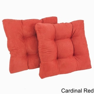 Blazing Needles Solid 19-inch Square Tufted Microsuede Chair Cushions (Set of 2)