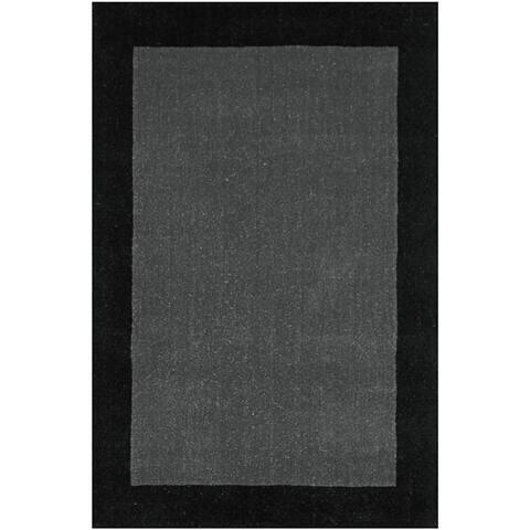 Grey Border Wool Rug