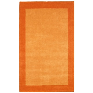 Hand-tufted Bordered Pulse Orange Wool Rug (8' x 10')