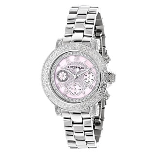 Luxurman Women's 1/3ct TDW Diamond Pink Mother of Pearl Dial Watch