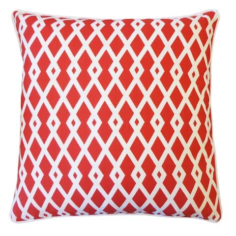 Jiti Red Moderna Geometric Throw Pillow