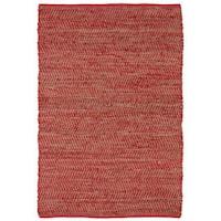 Hand Woven Red Jeans Denim & Hemp Rug (9 x 12') - 9' x 12'