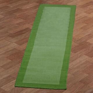 Hand-tufted Green Border Pulse Wool Runner (2.5' x 12')