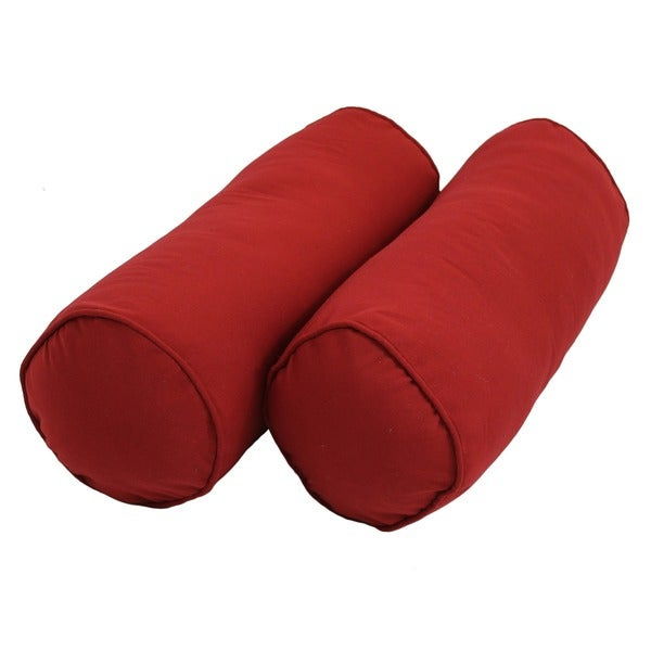 Blazing Needles Twill Bolster Pillows with Cording and Inserts (Set of 2)