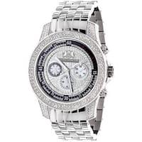 Luxurman Men's Diamond Stainless Steel Quartz Watch Metal Band plus Extra Leather Straps