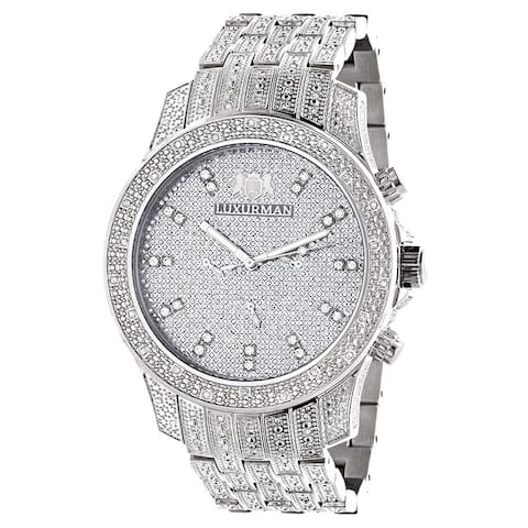Luxurman Men's 'Iced Out' 1.25ct Diamond Watch Metal Band with Extra Leather Straps
